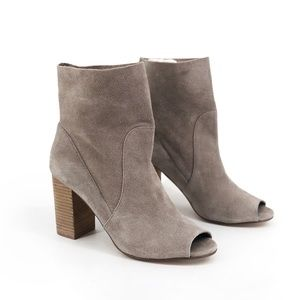 CHINESE LAUNDRY Tom Girl Peep Toe Suede Booties